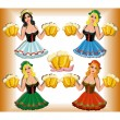 Girls in dresses with beer — Stock Vector