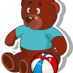 Brown teddy bear with ball. — Stock Vector