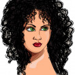 Drawing a girl with curly hair — Stockvectorbeeld