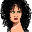 Drawing a girl with curly hair — Imagens vectoriais em stock