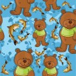 Bear and fish — Imagen vectorial