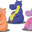 Set of colored Hippo — Stock vektor