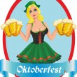 Pretty girl with beer — Stockvectorbeeld