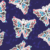Pattern with stylized butterfly — Stok Vektör
