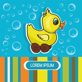 Baby card with duck and bubbles — Vector de stock