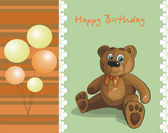 Baby card with teddy bear and balloons — Stock Vector