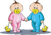 Boy and girl babies — Stock Vector