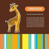 Baby card with giraffe — Vector de stock
