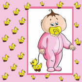 Baby card with girl and duck. — Stock Vector