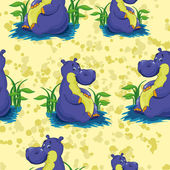 Hippo on a yellow background. — Stock Vector