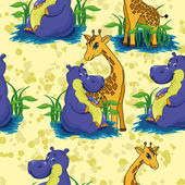 Hippopotamus and giraffe — Vector de stock
