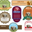 Set of labels with cows — Stock Vector