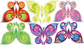 Set gekleurde vlinders — Stockvector