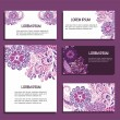 Business cards with floral ornaments — Stock Vector