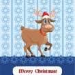 Christmas card with reindeer and snowflakes.  — Stock Vector