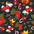 Christmas pattern on a black background — Vektorgrafik