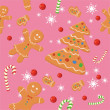Pattern with Christmas cookies on a pink background — ベクター素材ストック