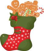 Christmas boot with Christmas cookies — Stock Vector