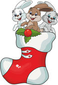 Christmas boot with rabbits — Stock Vector