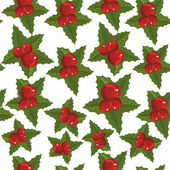 Christmas pattern with Christmas berries — Stock Vector