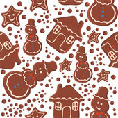 Pattern with chocolate cookies Christmas — Vettoriale Stock