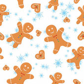 Pattern with Christmas cookies and snowflakes — Vector de stock