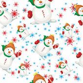 Snowmen and snowflakes — Stock Vector
