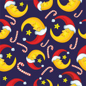 Pattern with the moon. Christmas Background — Stock Vector