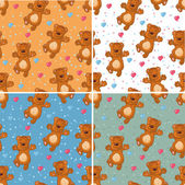 Pattern with bear and hearts — Stock Vector