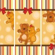 Stock Vector: Set of baby cards with teddy bears