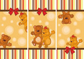 Set of baby cards with teddy bears — Stock Vector