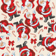 Pattern with Santa and candy — Imagen vectorial
