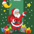Green card with Santa Claus and gifts — Stock Vector