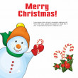 Christmas card with a snowman — Stock Vector