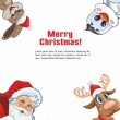 Santa Claus, deer, rabbit and Penguin — Stockvektor