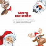 Santa Claus, deer, rabbit and Penguin — Stock Vector