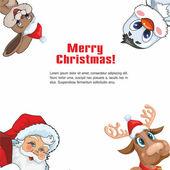 Santa claus, rådjur, kanin och pingvin — Stockvektor