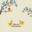 Beige card with Christmas birds — Image vectorielle
