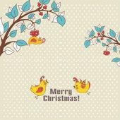 Tarjeta de color beige con pájaros de navidad — Vector de stock