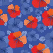 Modello con fiori arancioni su sfondo blu — Vettoriale Stock