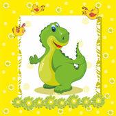 Baby card with a dinosaur — Stock Vector