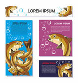 Set of cards for text with fish — Vector de stock