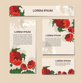 Set of cards with decorative poppies — Stock Vector