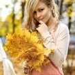 Smiling girl with colorful autumn leaves — ストック写真