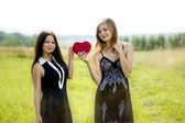 Two pretty women with red heart in sunshine summer field — Stock Photo