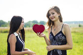 Two pretty women in love with red heart in sunshine summer field — Stock Photo