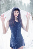 Beautiful bride under veil on white snow background — Stock Photo