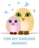 Vector Two owls sitting on a branch — Vector de stock