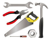 Set realistic building tools — Stock Vector