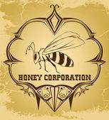 Beautiful retro bee — Vecteur